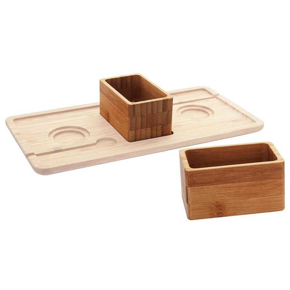 Serveerbox voor dienblad bamboe (2 personen)